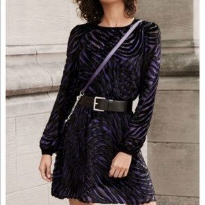 Michael Kors Black Velvet Purple Stripe Dress